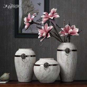 Sitting room of contemporary and contracted dry ceramic vase household Japanese literary small pure and fresh and coarse pottery flower arranging machine accessories
