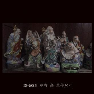 Jingdezhen pastel 18 arhats sculpture ceramic furnishing articles 20 small 18 arhats Buddhism with high 50, 90