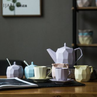 Ijarl million jia creative ceramic tea sets Korean choi clay fire, coffee cups and saucers with cover candy jar