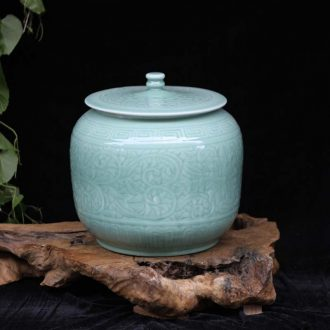 Jingdezhen jin 20 jins shadow green cover tank storage tank ceramic porcelain green rice jar of oil tank