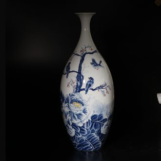 Jingdezhen vase peony flowers and birds painting fine mouth of jingdezhen painting curve of 60-70 cm tall vase porch