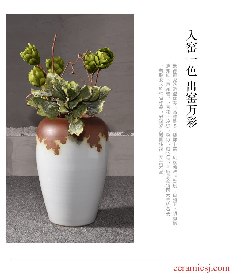 Big vase landed sitting room lobby flower arranging place large Chinese style household adornment to heavy clay ceramic vase