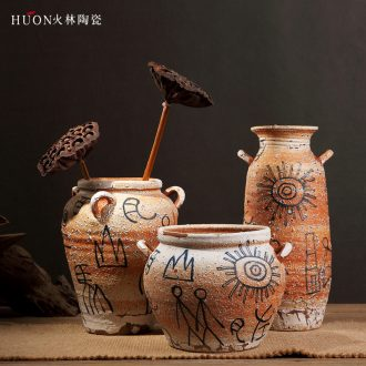 Zen of pottery and porcelain vase Chinese style restoring ancient ways is coarse pottery do old earthenware jar of primitive simplicity porch is decorated furnishing articles flowers, flower arranging