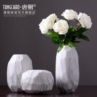 Tang dynasty lives in northern wind imitation marble ceramic living room table vase floral dried flower adornment furnishing articles