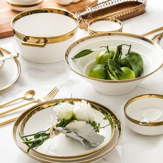 Northern wind ceramic dishes dishes suit good-looking household lovers light luxury Jin Bianxin bone porcelain tableware suit