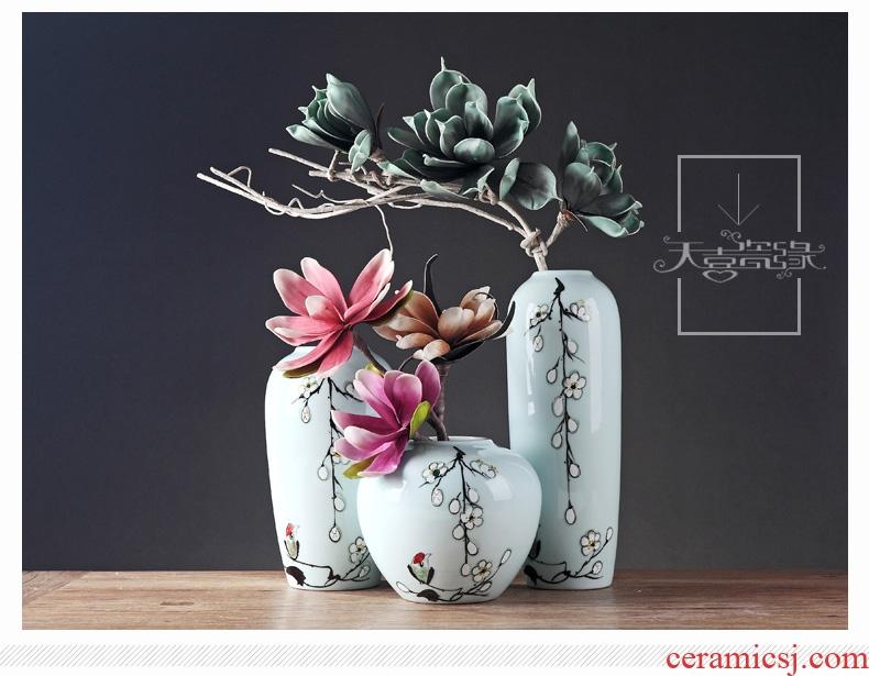 Jingdezhen ceramic vases, modern new Chinese style household creative platform MianRuan sitting room adornment furnishing articles flower arrangement