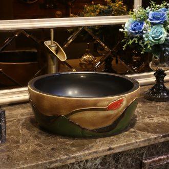 JingYan Chinese antique art stage basin of jingdezhen ceramic lavatory basin stage restoring ancient ways round the sink