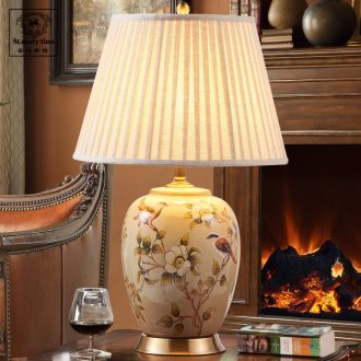 Santa marta tino American ceramic desk lamp large bedroom berth lamp American contracted sitting room lamps and lanterns of study of hotel