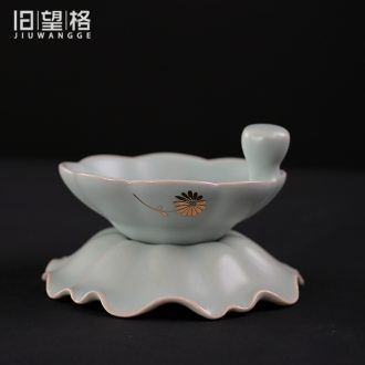 Old looking, open the slice your kiln) kung fu tea tea strainer ceramic tea lotus leaf shape stainless steel wire mesh filter