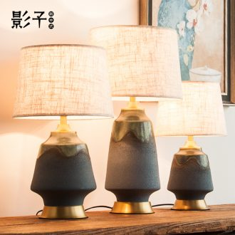 All copper ceramic desk lamp retro nostalgia sitting room of modern Chinese style hotel study adornment lamps and lanterns of bedroom the head of a bed, 1058
