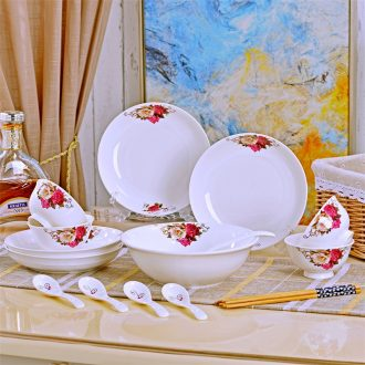The dishes suit household of Chinese style ceramic dinner dishes plate suit combination creative soup bowl combination dishes
