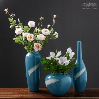 Contemporary and contracted Mediterranean ceramic vase of dry flower arranging creative living room desktop small pure and fresh and furnishing articles ornaments