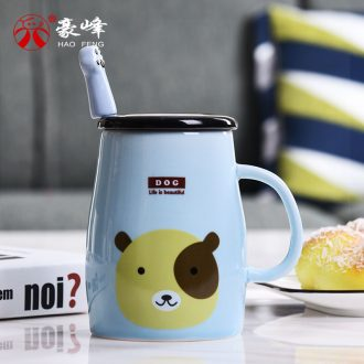 HaoFeng creative mugs ceramic cups of coffee cup milk cup breakfast cup cute cartoon cup with a spoon