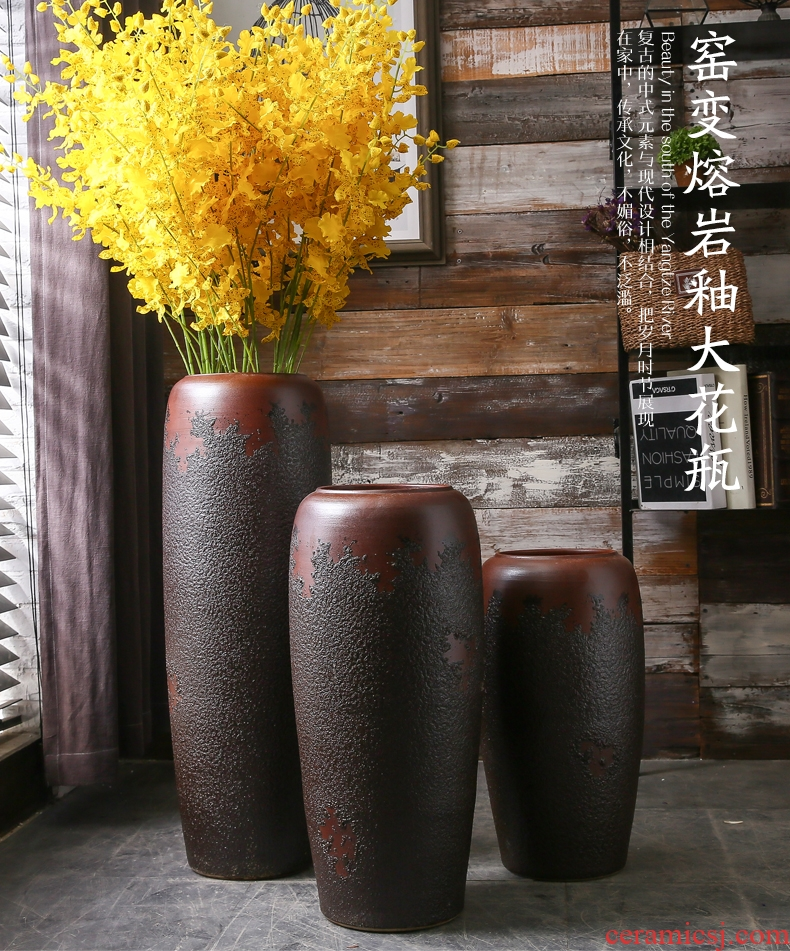 Large size vase furnishing articles sitting room ground artificial flowers archaize coarse pottery bottle Chinese style household ceramic pottery decorative furnishing articles