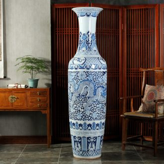 Jingdezhen blue and white landscape of large ceramic hand-painted vases hall hotel opening gifts sitting room adornment is placed
