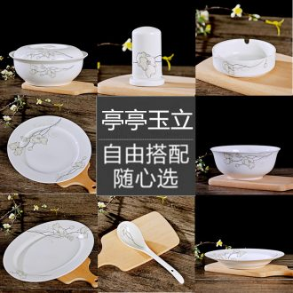 Jingdezhen eat rice bowl dishes suit household ceramics is increasing in 0 large soup bowl of salad bowl the rainbow noodle bowl combined packages