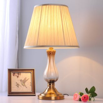 Modern ceramic small desk lamp bedroom berth lamp study sweet romance marriage contracted household household dimmer remote control