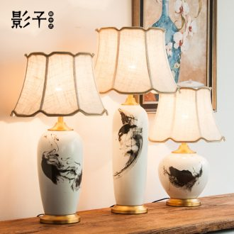 All copper ceramic desk lamp of modern Chinese ink painting creative decorate the sitting room the bedroom hotel bedside table lamps and lanterns is 1057