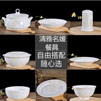 Jingdezhen ceramics home dishes suit supporting rainbow noodle bowl bowl porringer pot dish plate tableware portfolio