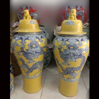 Jingdezhen 37 100 cm high general cover pot in yellow peach ceramic jar of household soft adornment porcelain furnishing articles