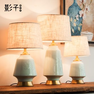 Modern Chinese study desk lamp of bedroom the head of a bed sitting room hotel rooms all copper ceramic relief decoration lamp 1052