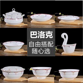 Jingdezhen ceramic tableware combinations dishes 0 make rainbow noodle bowl big bowl of soup spoon the suit for his job