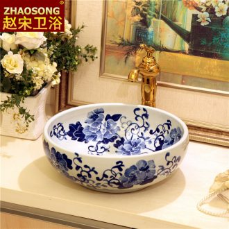 Jingdezhen ceramic art of song dynasty blue-and-white stage basin round household lavabo large stage basin