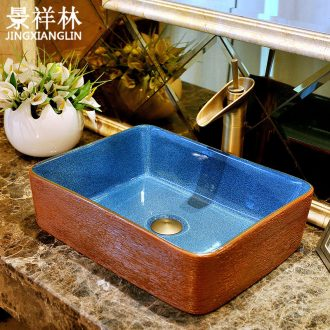 Rectangular basin ceramic art basin European toilet lavabo, contracted lavatory basin to hand on stage