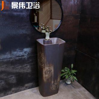 Pillar type restoring ancient ways outdoor lavatory washbasins balcony floor toilet integrated basin ceramic POTS