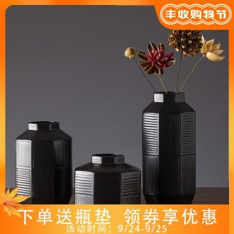 The new 2019 jingdezhen ceramic vases, contemporary and contracted zen retro black dry flower vases, sitting room furnishing articles