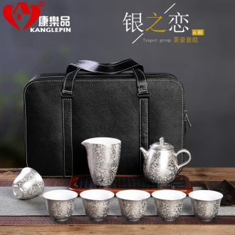 Recreational product silver of ceramic coppering.as silver tureen kung fu tea cups set five blessings tea the whole trip