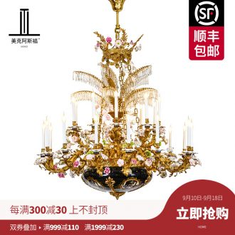 French pure copper chandeliers villa luxury romantic European ceramic crystal lamp double living room light court lamps and lanterns