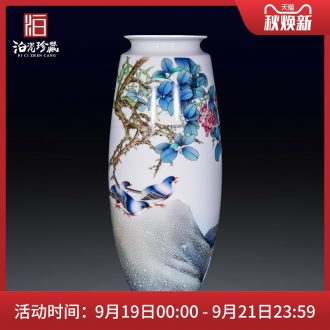 Jingdezhen ceramics hand-painted pastel flower arranging landing big new Chinese style household vase sitting room bedroom collection furnishing articles