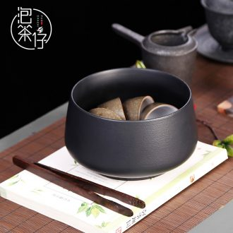Tea seed Japanese black pottery tea wash household size zen ceramic wash bowl wash basin of wash cup cup of vessels