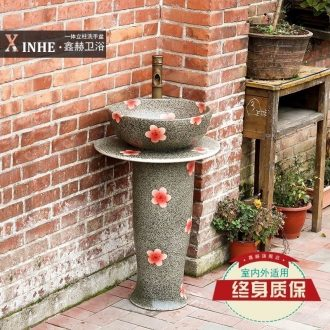 Toilet lavabo ceramic column type balcony one retro art basin basin pool face basin of vertical column