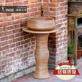Ceramic pillar lavabo household small family toilet basin column outdoor ground integrated art commode