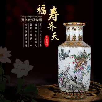 Large Chinese jingdezhen ceramics vase pastel landing big sitting room adornment TV ark vase furnishing articles