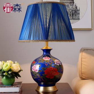 New Chinese peony pomegranate bottle full copper ceramic desk lamp bedside lamp creative ou warm sitting room the bedroom decorates
