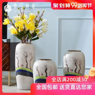 Hand-painted ceramic vase literary small pure and fresh and dried flowers decorative furnishing articles in the sitting room TV ark ground bottle arranging flowers