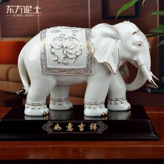 Oriental clay ceramic elephant sitting room adornment handicraft furnishing articles household moved into gifts gifts