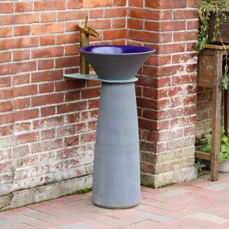 Ceramic column type lavatory basin one simple toilet lavabo balcony ground art basin of vertical column