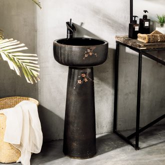 Ceramic column type lavatory sink basin one outdoor courtyard floor type simple wash basin small family