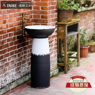 Lavabo ceramic basin pillar toilet outdoor balcony floor integrated art pool face basin of vertical column