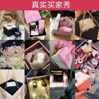 Gift box underwear glass lined with orange ribbon ceramic bowl boyfriend gift box packing box pastries birthday