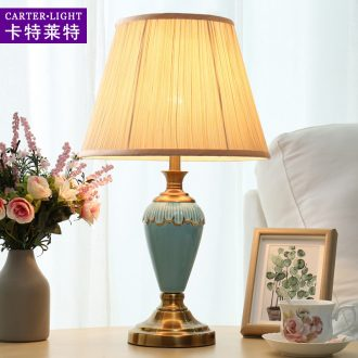 American desk lamp lamp of bedroom the head of a bed contracted and contemporary ceramic personality remote control warm light sweet and romantic wedding room decoration