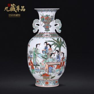 Nine Tibetan Buddha product unique romance longnu statue of Chinese antique hand-painted vases furnishing articles of jingdezhen ceramics decoration