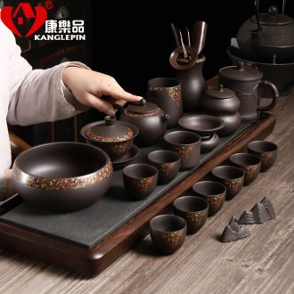Recreational taste delicate yixing purple sand kung fu tea set office undressed ore ceramic purple sand cup household contracted