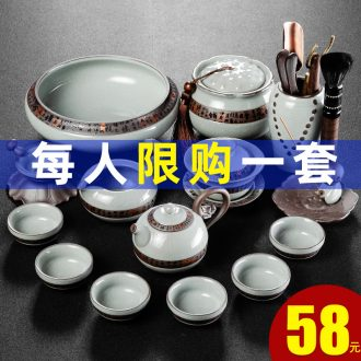 Bin's elder brother kiln tea set ice crack glaze household contracted japanese-style open piece of kung fu of a complete set of ceramic teapot teacup