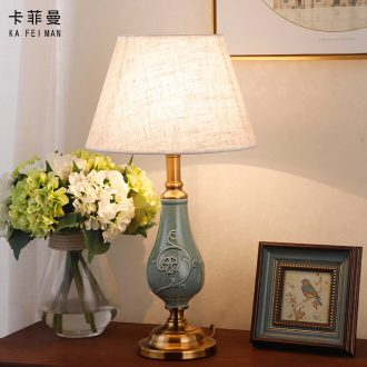 Ceramic lamp lights the sitting room is the study of new Chinese style of bedroom the head of a bed bedside lamp decoration American European sweet romance