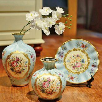 Murphy European rural three-piece ceramic vase restoring ancient ways of TV ark wine American soft adornment handicraft furnishing articles
